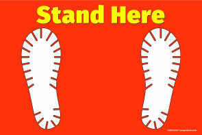"""Stand Here"" Shoe Print Floor Decal Sign"