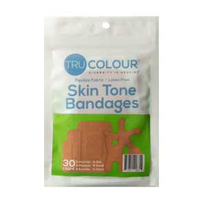 Tru-Colour® Assorted Bandages, Olive-Moderate Brown, 30/pack