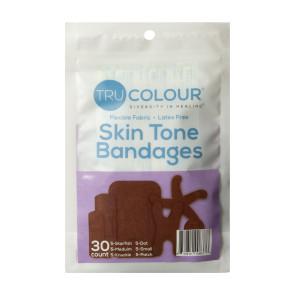 Tru-Colour® Assorted Bandages, Dark Brown-Black, 30/pack