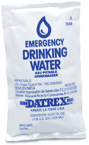 4 Oz Emergency Drinking Water Pouch, 5-Year Shelf Life