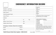 Emergency Infomation Medical Card, 100/Pack