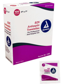 BZK Antiseptic Towelettes, 100/Box