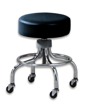 "Chrome Base Black Stool w/o Backrest (18""-24"")"
