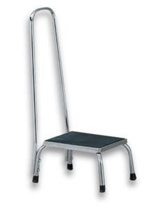 Foot Stool with Handle - Chrome-Plated w/Rubber Feet