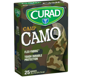 "Curad® 3/4"" x 3"" Fabric Camo Bandages, Green, 25/Box"