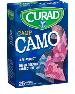 "Curad® 3/4"" x 3"" Fabric Camo Bandages, Pink/Blue, 25/Bx"
