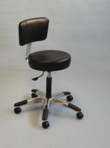 Adjustable Five Leg Stool - Black w/Backrest