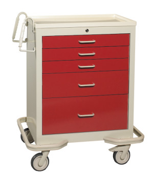 Red 5-Drawer Treatment/Procedure Cart