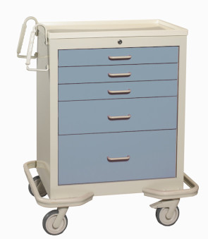 Blue Gray 5-Drawer Treatment/Procedure Cart