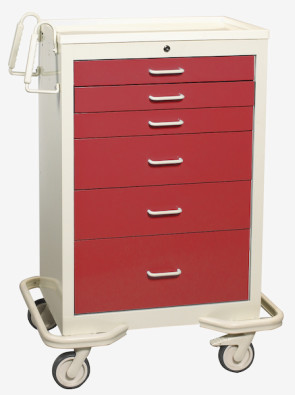 Red 6-Drawer Treatment/Procedure Cart