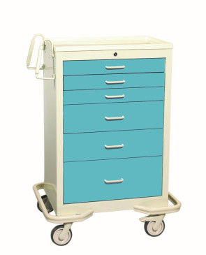 Blue Gray 6-Drawer Treatment/Procedure Cart