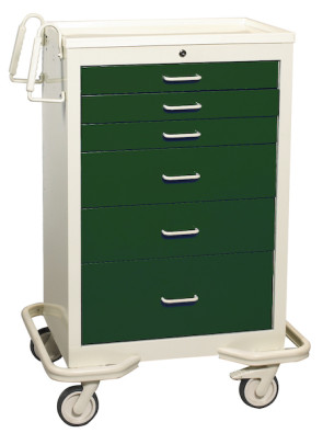 Hunter Green 6-Drawer Treatment/Procedure Cart