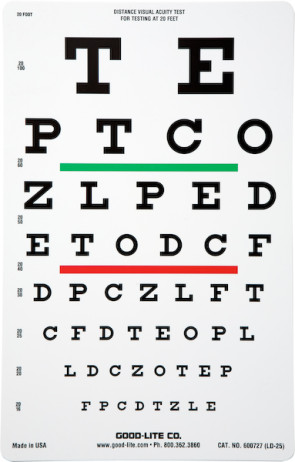 Linear Spaced Snellen Chart w/Green & Red Lines, 20 Foot