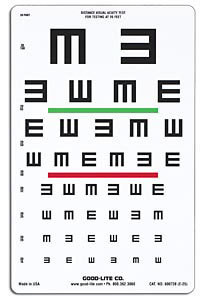 "Wide Spaced ""E"" Chart with Green & Red Lines, 20 Foot"