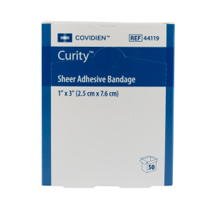"Covidien Curity® 1"" x 3"" Sheer Bandages, 50/Box"