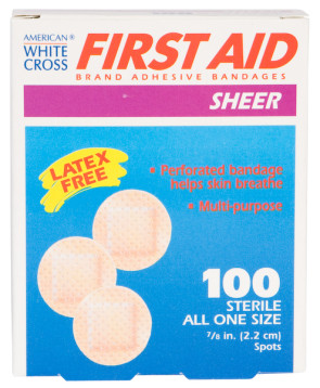 "7/8"" Sheer Spot Bandages, 100/Box"