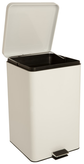 Square Step-On Waste Receptacle, 8 Gallon, White