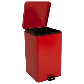 8 Gallon Square Step-On Waste Receptacle, Red