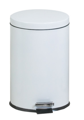 Round Step-On 5 Gallon Waste Receptacle, White