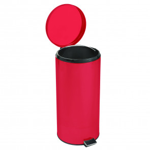 Round Step-On 8 Gallon Waste Receptacle, Red