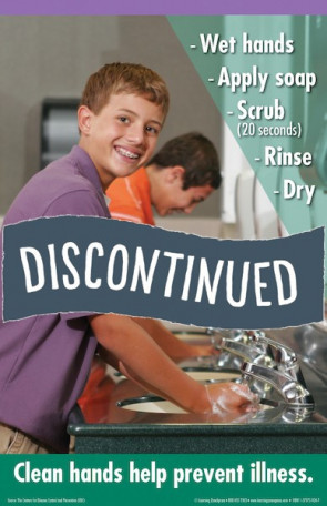 """(Discontinued) 11"""" x 17"""" Hand Washing Poster, Elementary Boy"""