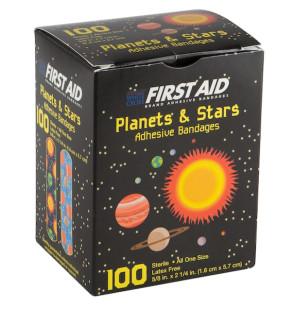 "Planet & Stars Plastic Bandage Strips, 5/8"" x 2-1/4"", 100/Bx"