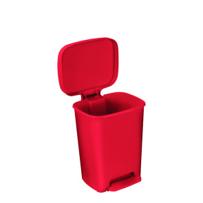 8 Gallon Rectangular Plastic Step-On Waste Receptacle, Red