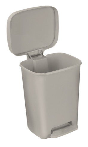 8 Gallon Rectangular Plastic Step-On Waste Receptacle, Beige