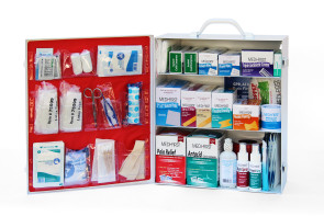 Complete 3-Shelf Metal First Aid Cabinet