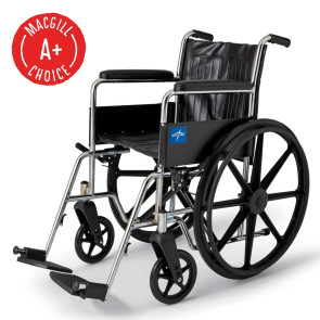 """Wheelchair, 18"""" Seat, Full Length Fixed Arm, Fixed Footrest"""