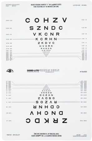 Sloan Letters Near Vision Chart for Illuminated Cabinets