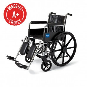 """Wheelchair, 18"""" Seat, Full Length Fixed Arms, Legrest"""
