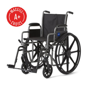 """Wheelchair, 18"""" Seat, Padded Removable Desk Arms, Footrest"""