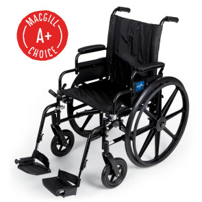 """Wheelchair, 20"""" Seat, Padded Swing-Back Desk Arms, Footrest"""