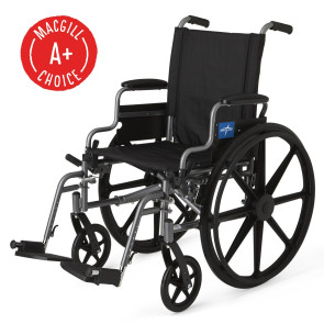 """Wheelchair, 20"""" Seat, Padded Desk Arms, Elevating Legrests"""