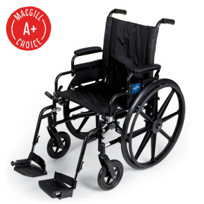 """Wheelchair, 22"""" Seat, Padded Swing-Back Desk Arms, Footrest"""