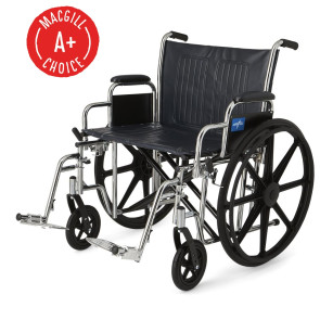 """Wheelchair, 24"""" Seat, Padded Desk Arms/Swing-Away Footrests"""