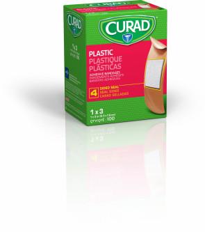 """1"""" x 3"""" Curad Plastic Bandages, 100/Box"""