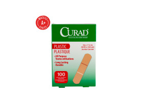 "3/8"" x 1-1/2"" Curad Plastic Mini Bandages, 100/Box"