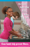 "11"" x 17"" Hand Washing Poster, Elementary School Girl"